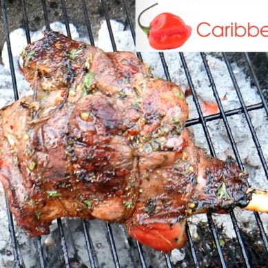 Succulent Grilled Leg of Goat with CaribbeanPot